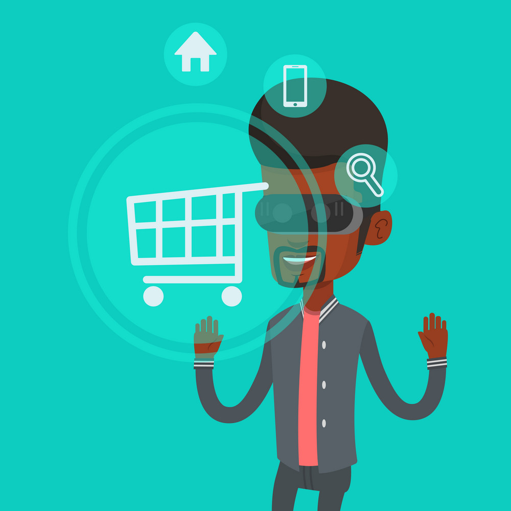 African-american man in virtual reality headset looking at shopping cart icon. Man doing online shopping. Virtual reality and shopping online concept. Vector flat design illustration. Square layout.