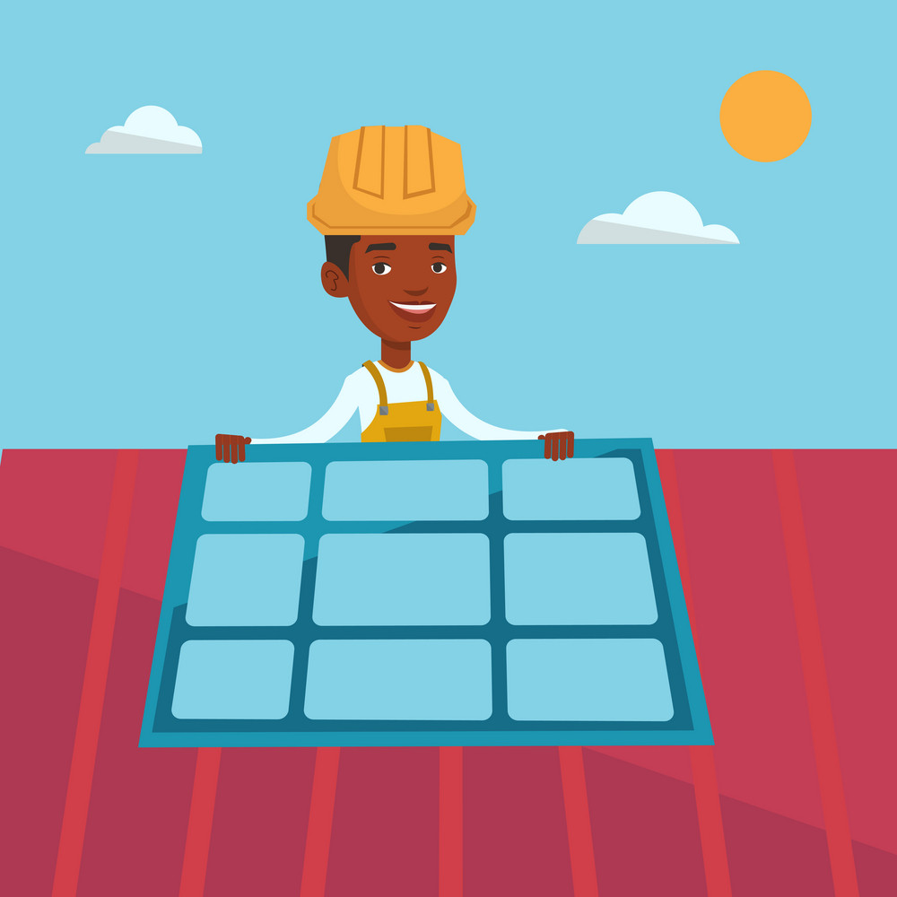 African-american man installing solar panels on roof. Technician in inuform and hard hat checking solar panel on roof. Eengineer adjusting solar panel. Vector flat design illustration. Square layout.