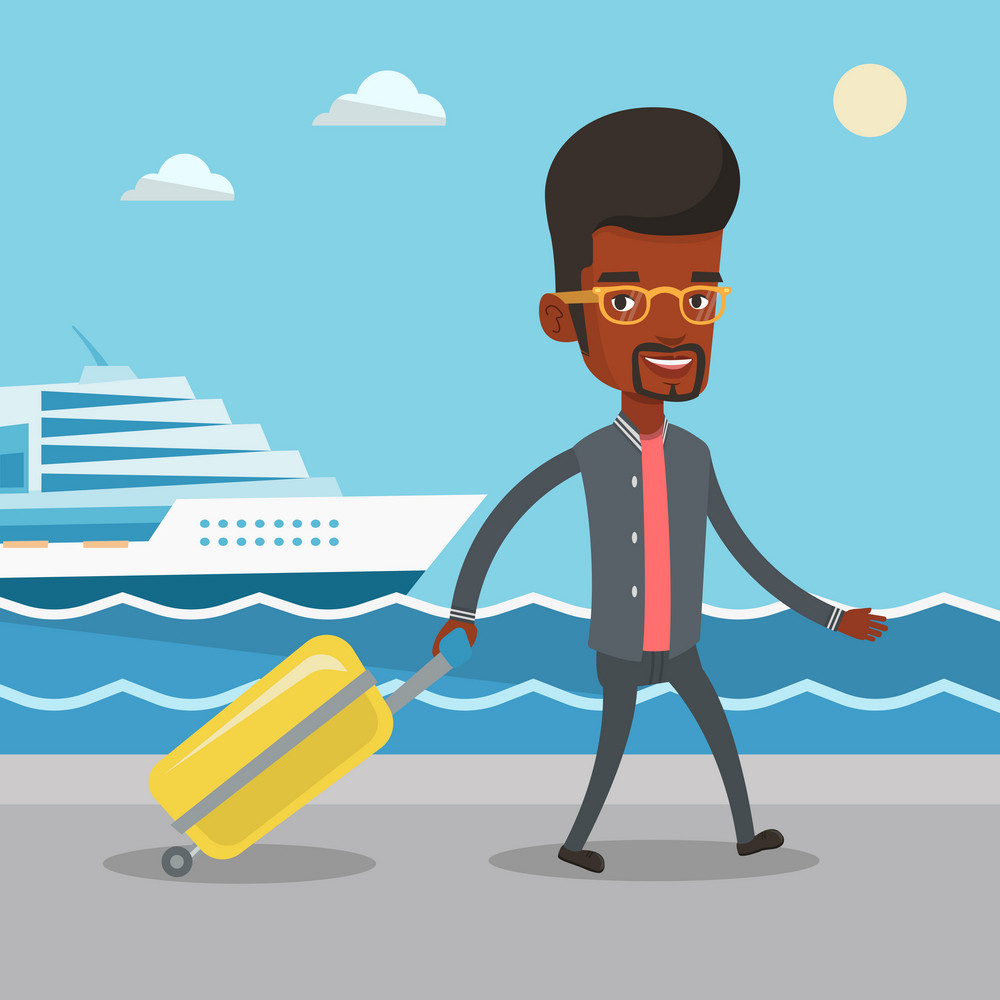 African-american man is going to voyage on cruise liner. Man walking on the background of cruise liner. Passenger of cruise liner walking on the pier. Vector flat design illustration. Square layout.