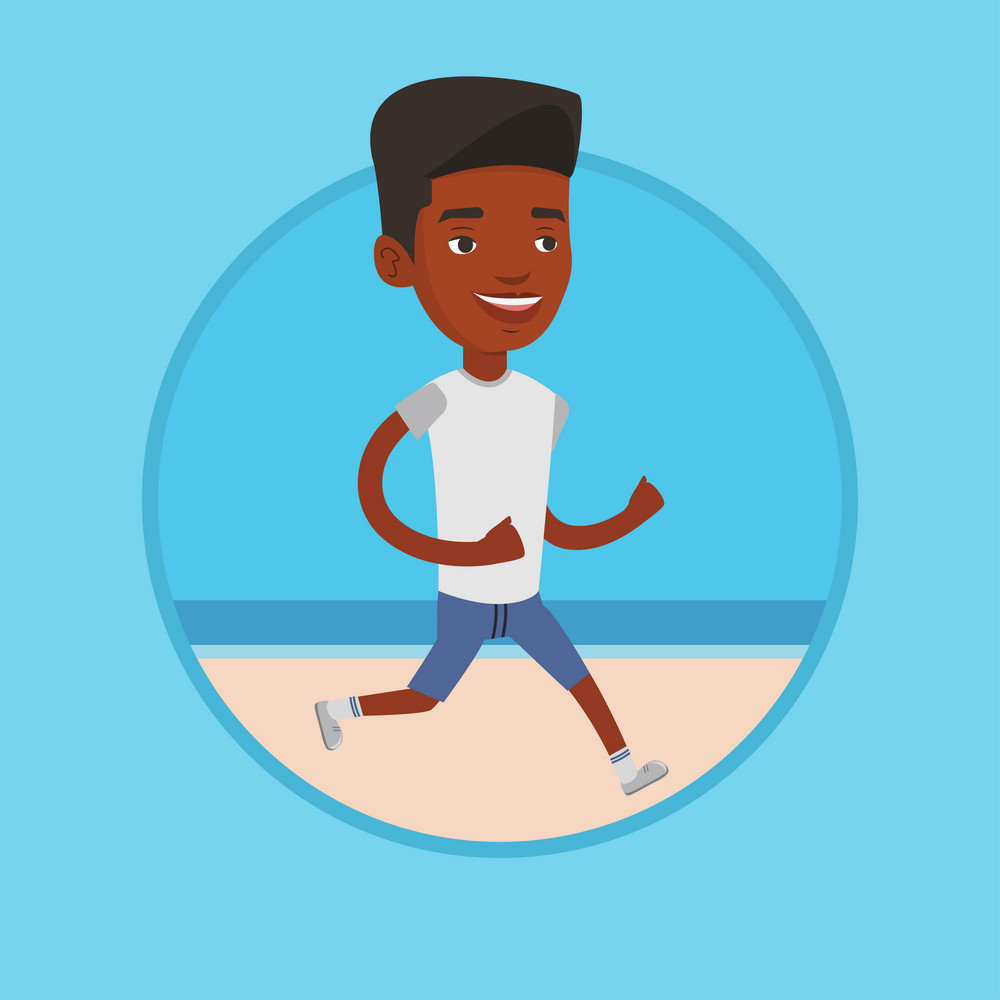 African-american man jogging on beach. Athlete running on the beach. Man running along the seashore. Man enjoying jogging on beach. Vector flat design illustration in the circle isolated on background