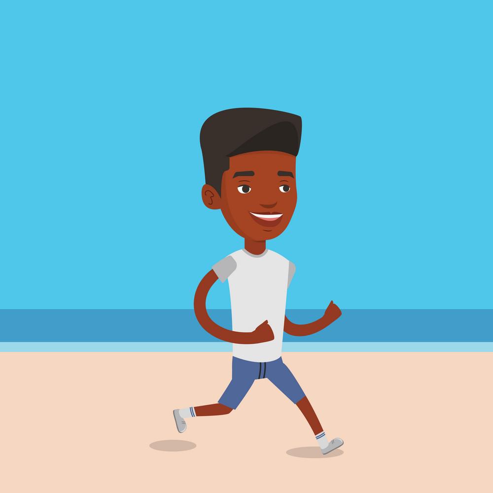 African-american man jogging on the beach. Sporty male athlete running on the beach. Man running along the seashore. Fit man enjoying jogging on beach. Vector flat design illustration. Square layout.