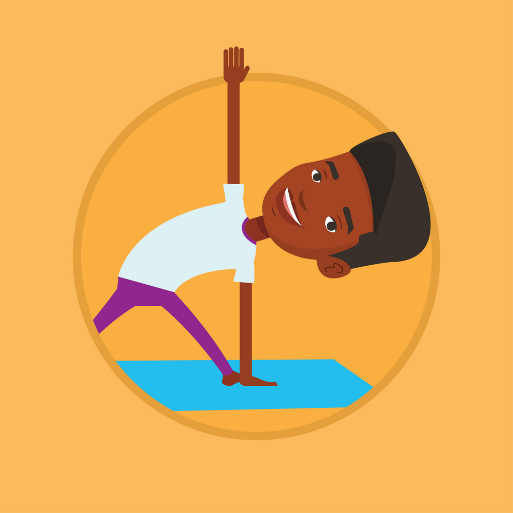 African-american man meditating in yoga triangle position. Young man standing in yoga triangle pose. Man doing yoga on yoga mat. Vector flat design illustration in the circle isolated on background.