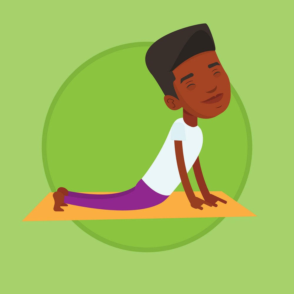 African-american man meditating in yoga upward dog position. Young man practicing yoga upward dog pose. Man doing yoga on yoga mat. Vector flat design illustration in the circle isolated on background