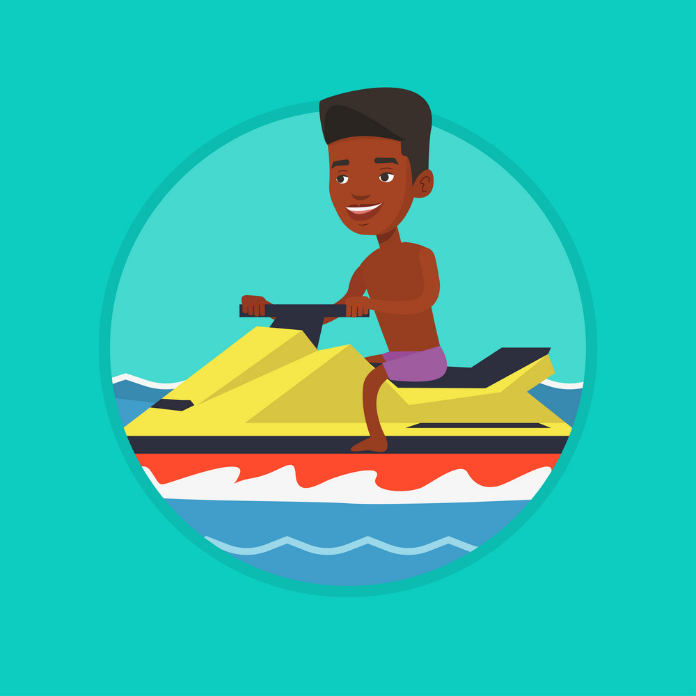 African-american man on water scooter in the sea at summer sunny day. Man riding on water scooter. Man training on water scooter. Vector flat design illustration in the circle isolated on background.