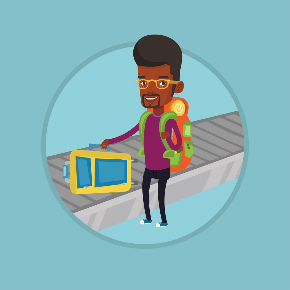 African-american man picking up suitcase on luggage conveyor belt at airport. Young happy man taking her luggage at conveyor belt. Vector flat design illustration in the circle isolated on background.