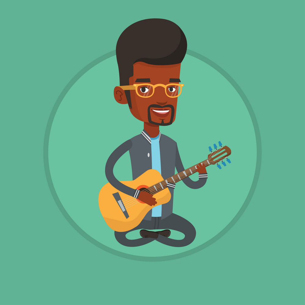 African-american man playing an acoustic guitar. Musician sitting with guitar in hands. Guitarist practicing in playing guitar. Vector flat design illustration in the circle isolated on background.