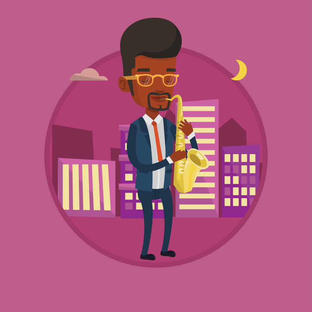 African-american man playing on saxophone in the night. Musician playing on saxophone. Musician with saxophone in the city street. Vector flat design illustration in the circle isolated on background.