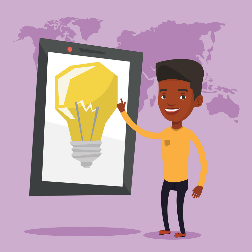 African-american man pointing at a big tablet computer with idea light bulb on a screen. Businesman standing near tablet computer with idea light bulb. Vector flat design illustration. Square layout.