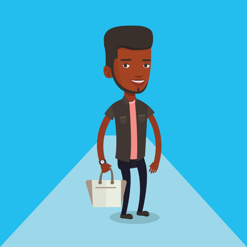 African-american man posing on catwalk during fashion event. Smiling model walking on catwalk during fashion week. Man on catwalk during fashion show. Vector flat design illustration. Square layout.