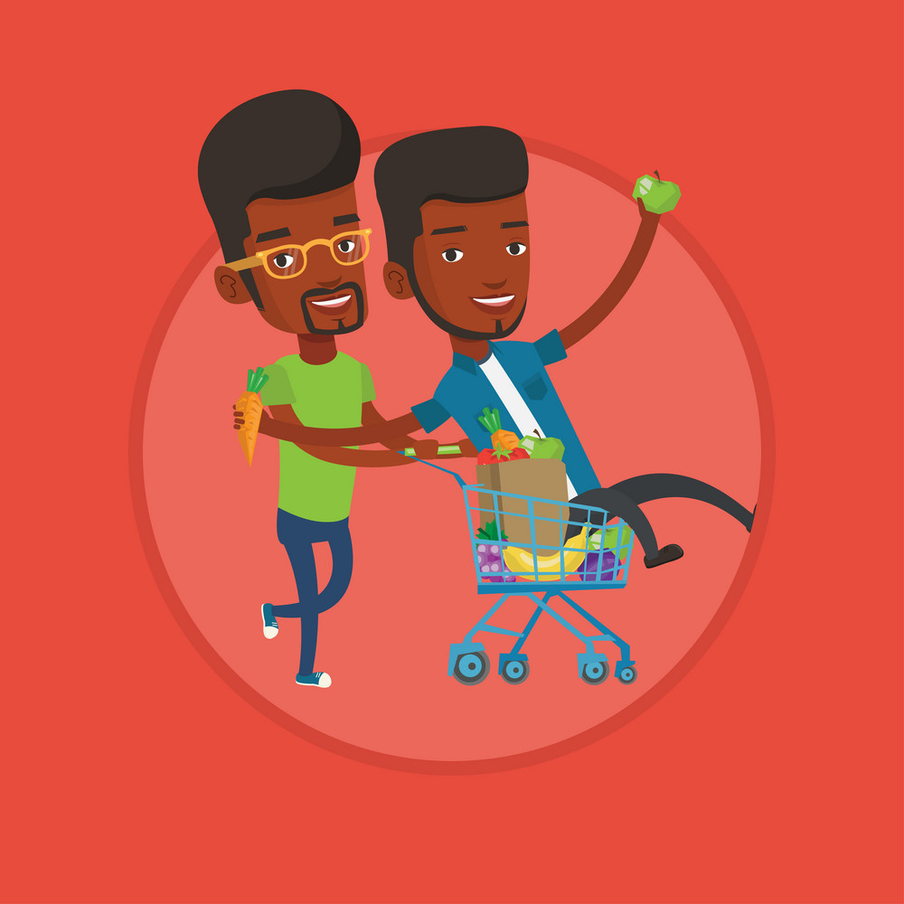 African-american man pushing a shopping trolley with his friend. Two carefree friends having fun while riding by shopping trolley. Vector flat design illustration in the circle isolated on background