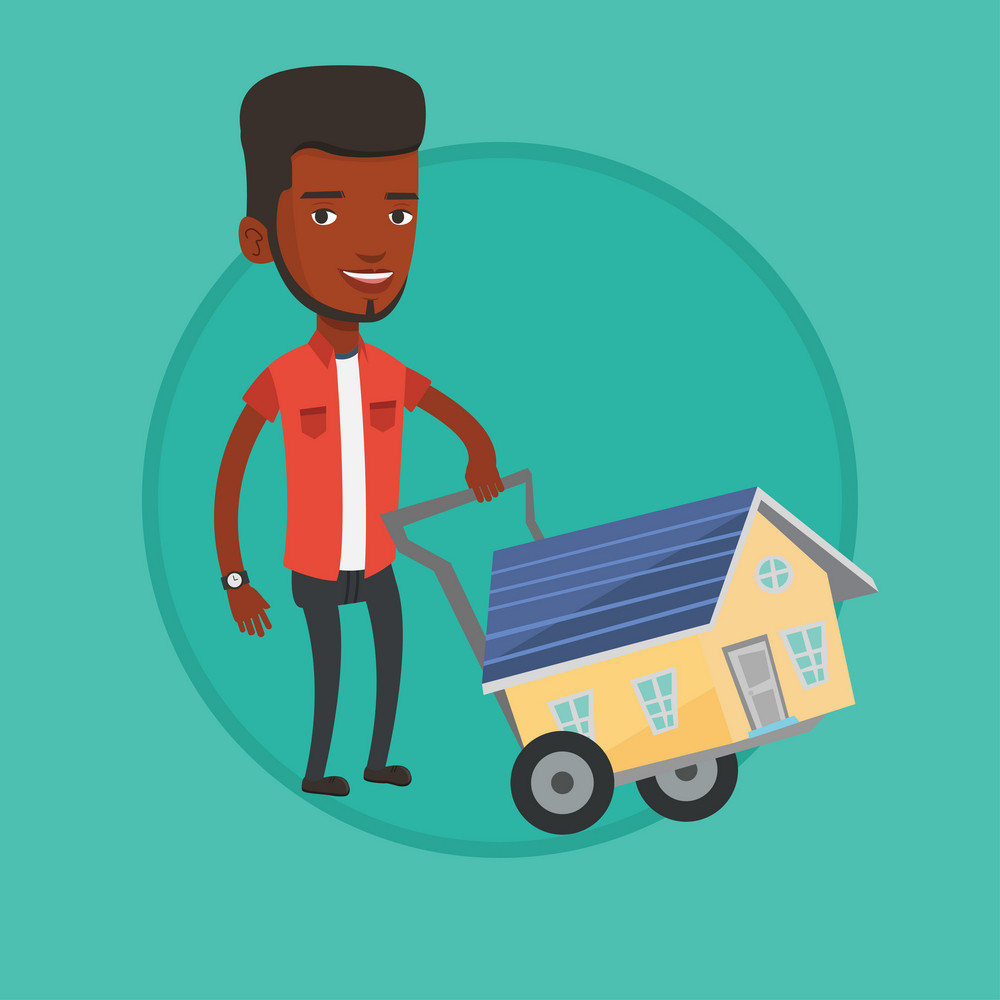 African-american man pushing shopping trolley with house. Young man buying home. Man using shopping trolley to transport house. Vector flat design illustration in the circle isolated on background.
