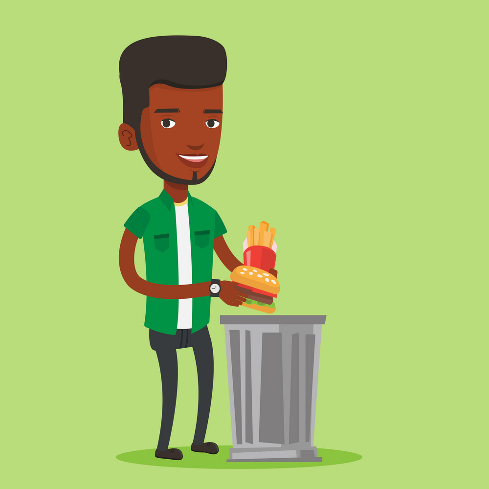 African-american man putting junk food into a trash bin. Man refusing to eat junk food. Woman rejecting junk food. Vector flat design illustration. Square layout.