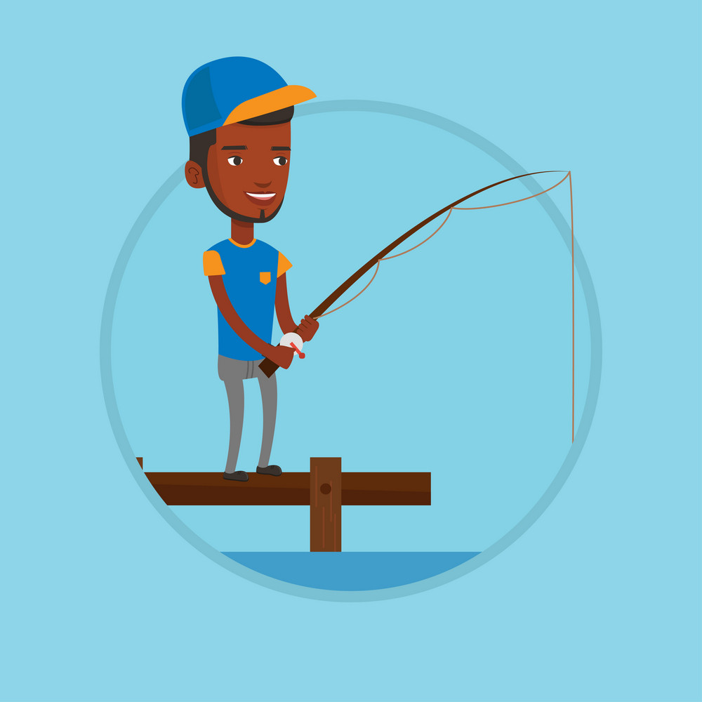 African-american man relaxing during fishing on jetty. Fisherman fishing on the lake. Fisherman standing on jetty with fishing-rod. Vector flat design illustration in the circle isolated on background
