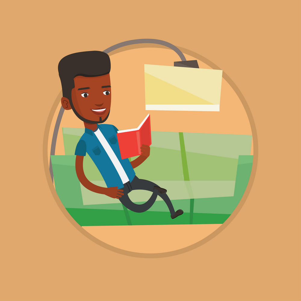 African-american man relaxing with book on the couch at home. Man reading book on sofa. Man sitting on a sofa and reading a book. Vector flat design illustration in the circle isolated on background.