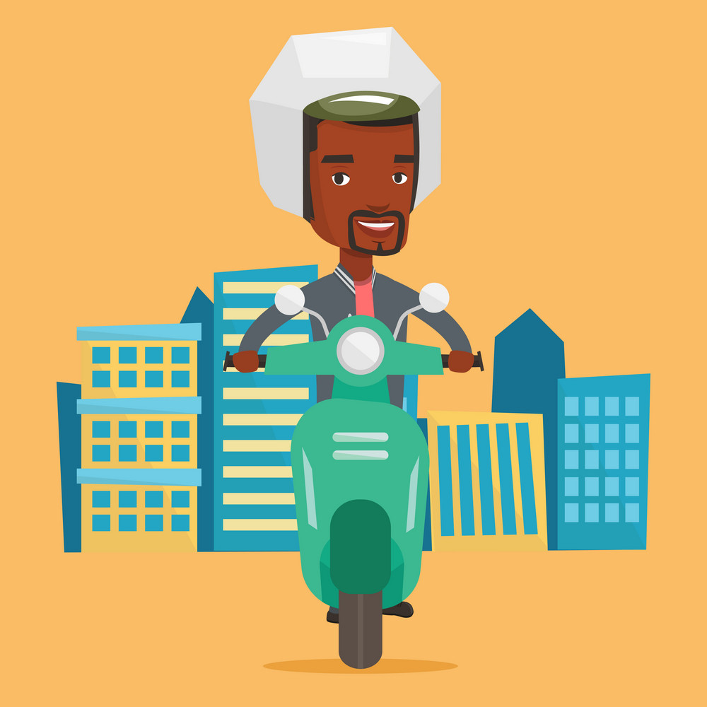 African-american man riding a scooter on a city background. Young man in helmet driving a scooter in the city street. Smiling man driving a scooter. Vector flat design illustration. Square layout.