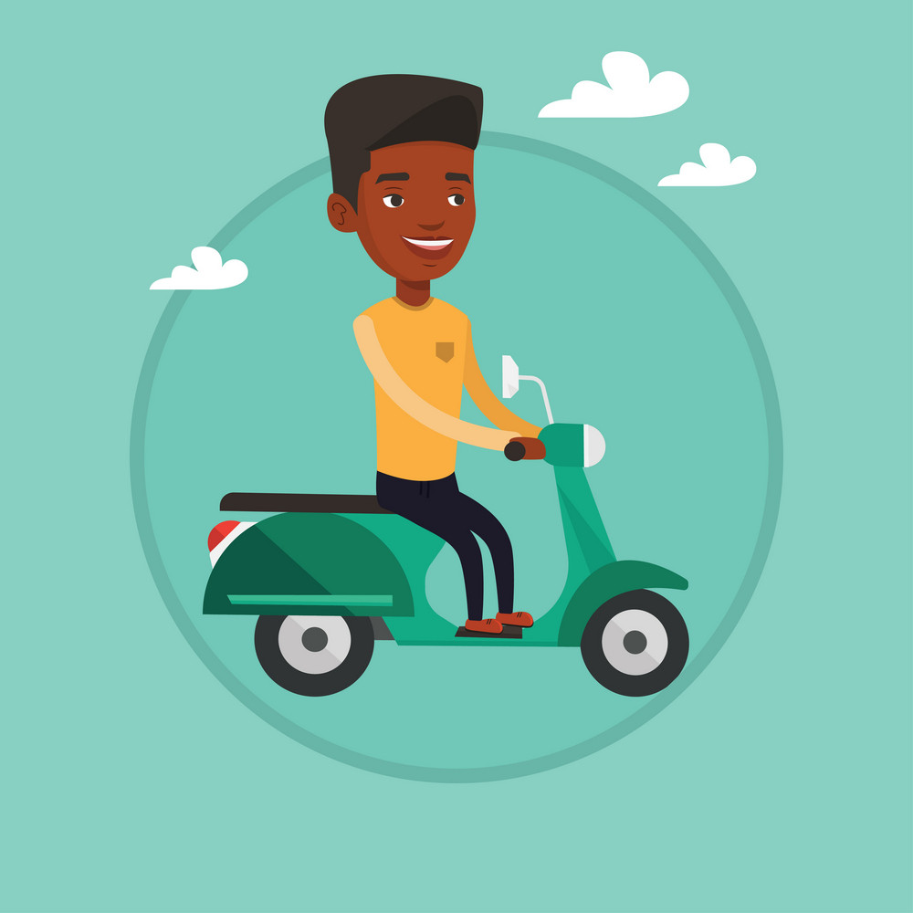 African-american man riding a scooter outdoor. Man driving a scooter. Man enjoying trip on a scooter. Man traveling on a scooter. Vector flat design illustration in the circle isolated on background.