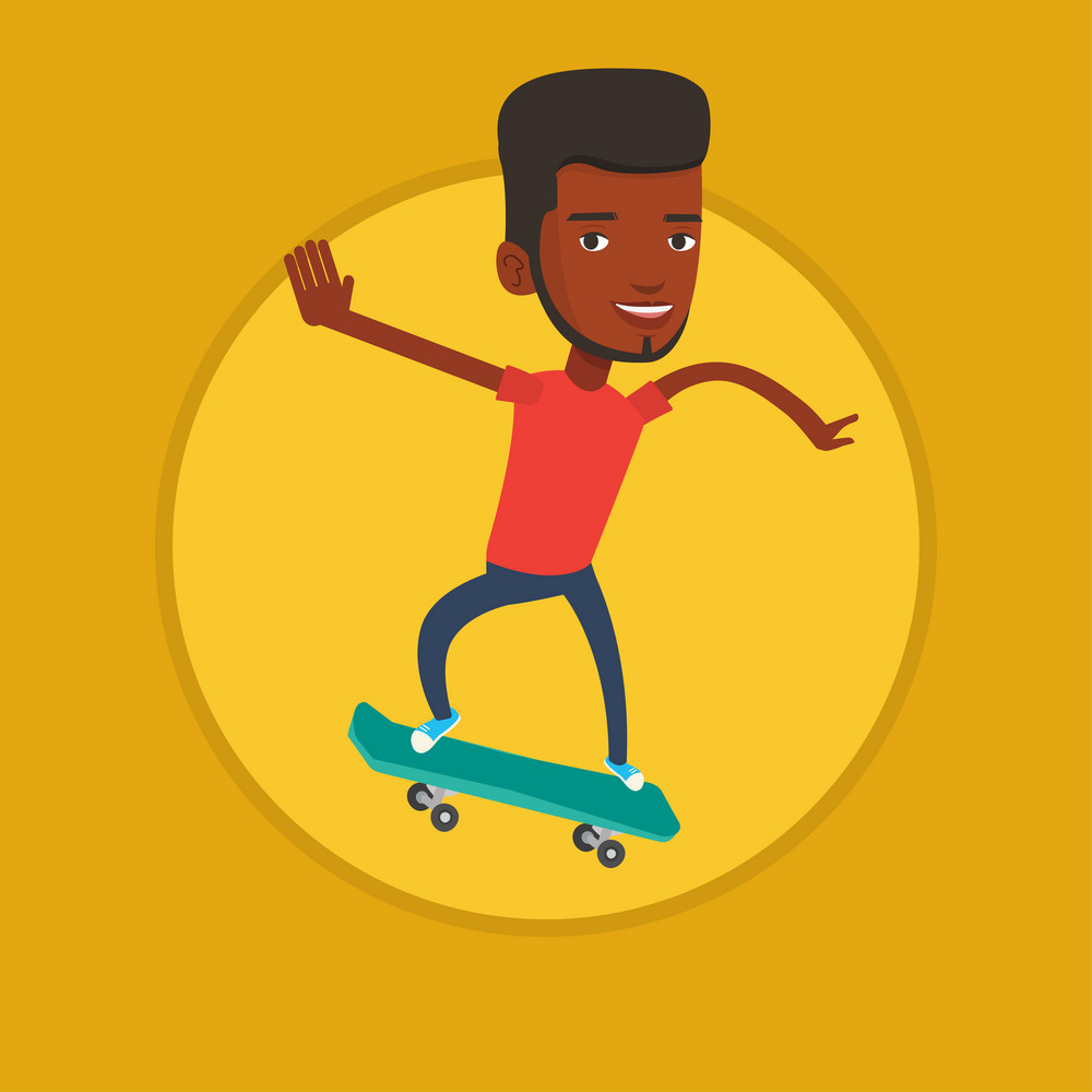 African-american man riding a skateboard. Sportsman skateboarding. Skater riding a skateboard. Sportsman jumping with skateboard. Vector flat design illustration in the circle isolated on background.