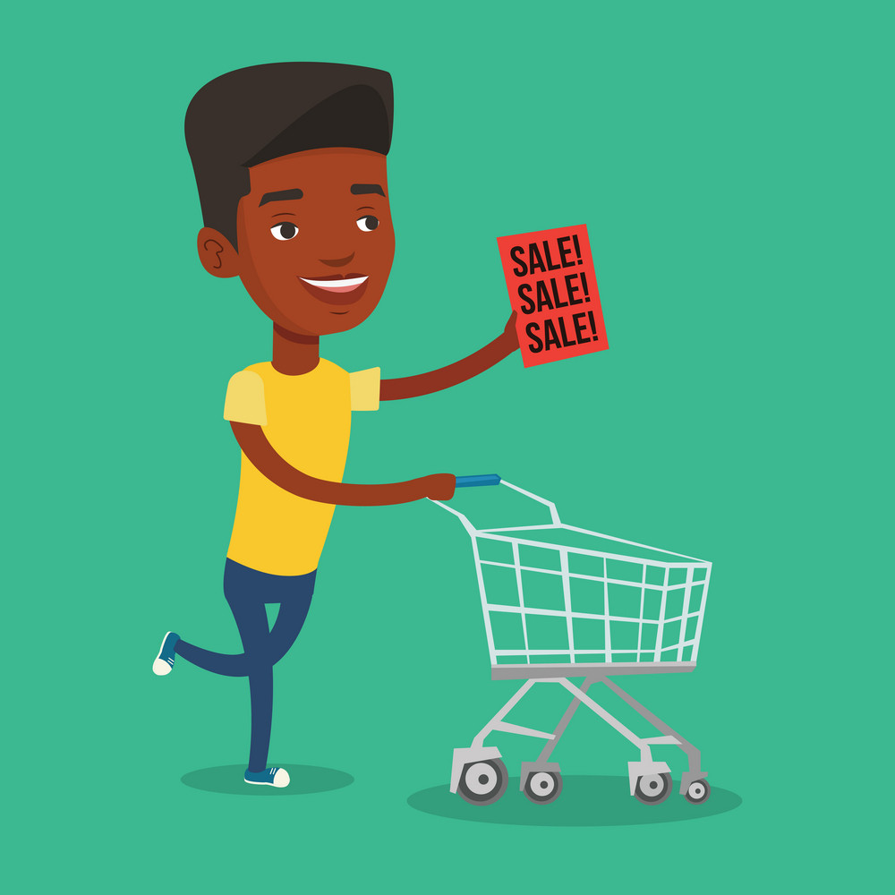 African-american man running on sale. Man holding paper sheet with sale text. Man with empty shopping trolley running in a hurry to the store on sale. Vector flat design illustration. Square layout.
