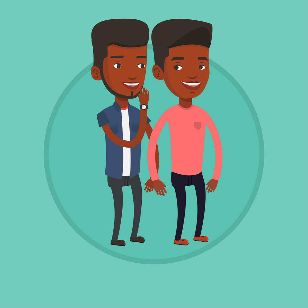 African-american man shielding his mouth and whispering a gossip to his friend. Men sharing gossips. Friends discussing gossips. Vector flat design illustration in the circle isolated on background.