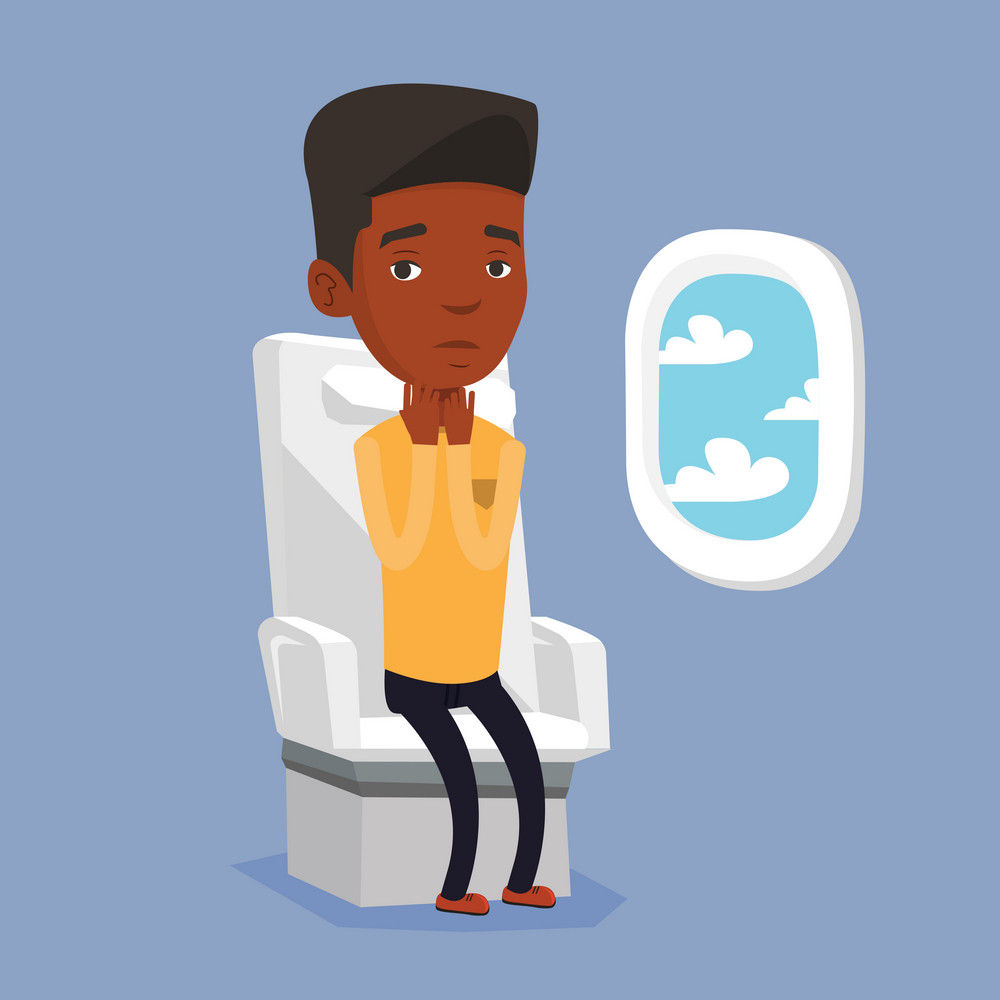 African-american man shocked by plane flight in a turbulent area. Airplane passenger frightened by flight. Terrified passenger sitting in airplane seat. Vector flat design illustration. Square layout