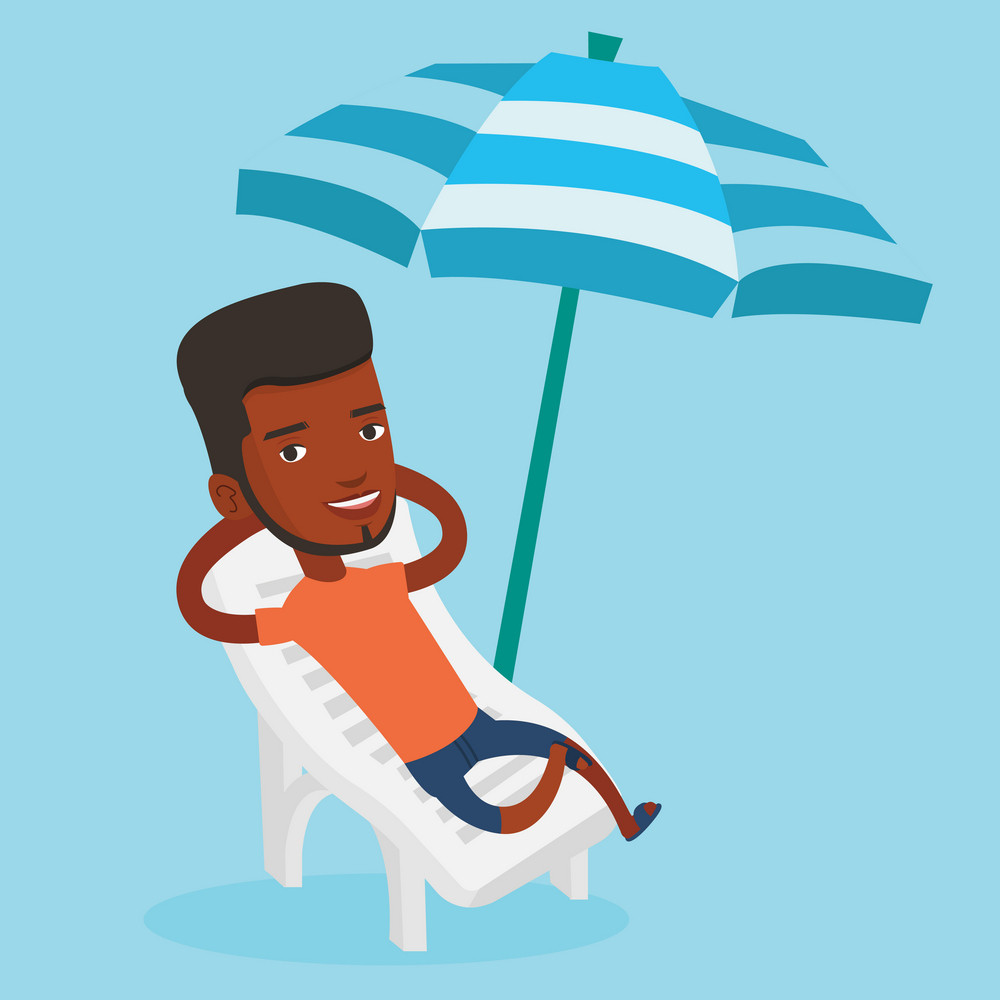 African-american man sitting in a beach chair. Young man resting on holiday while sitting under umbrella on a beach chair. Man relaxing on a beach chair. Vector flat design illustration. Square layout