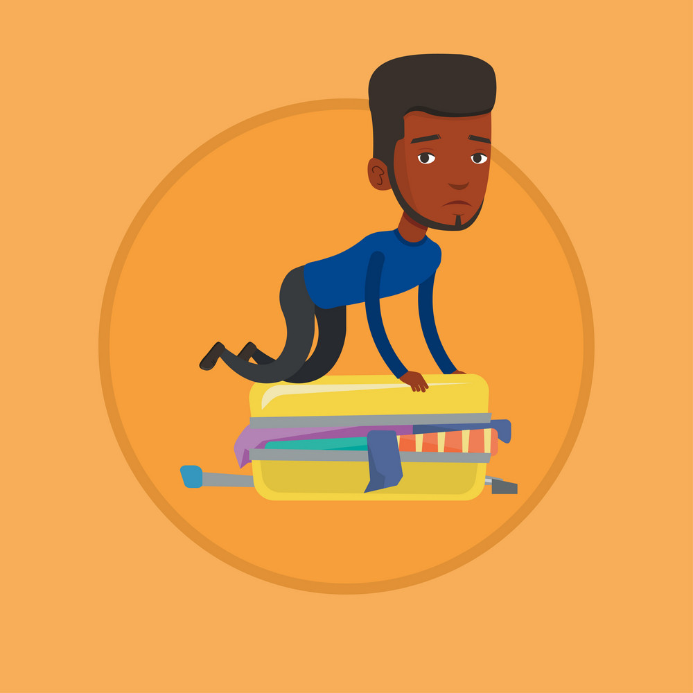 African-american man sitting on suitcase and trying to close it. Frustrated man having problems with packing clothes in suitcase. Vector flat design illustration in the circle isolated on background.