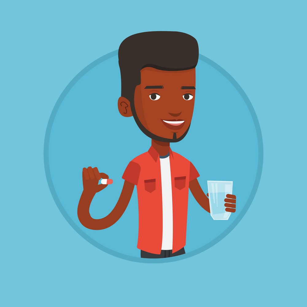 African-american man taking pills. Man holding pills and glass of water in hands. Man taking vitamins. Healthy lifestyle concept. Vector flat design illustration in the circle isolated on background.