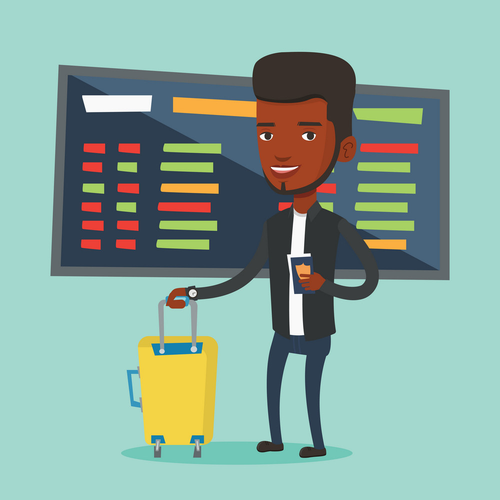 African-american man waiting for a flight at the airport. Passenger holding passport and airplane ticket. Man with suitcase standing at the airport. Vector flat design illustration. Square layout.
