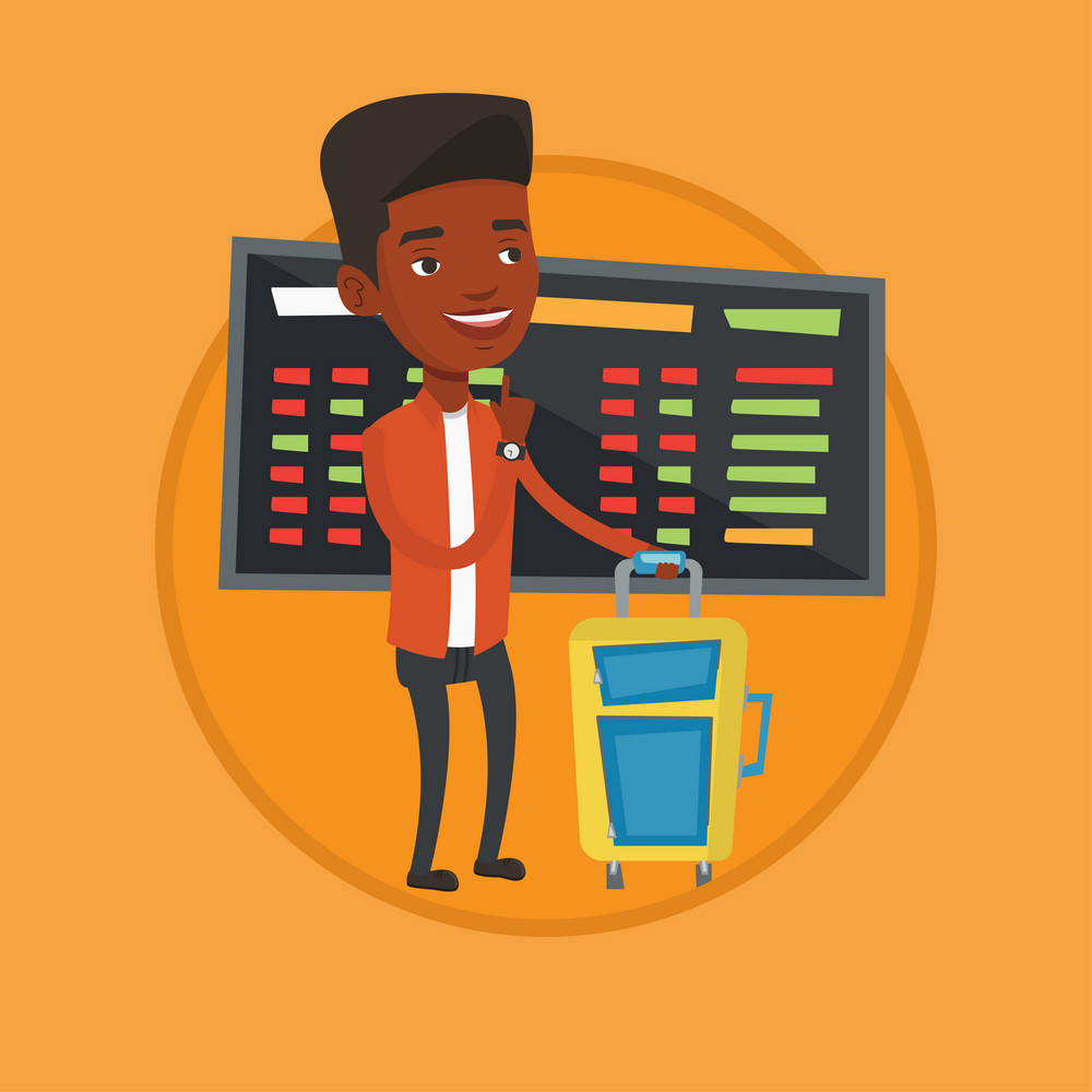 African-american man waiting for a flight at the airport. Passenger standing at the airport on the background of departure board. Vector flat design illustration in the circle isolated on background.