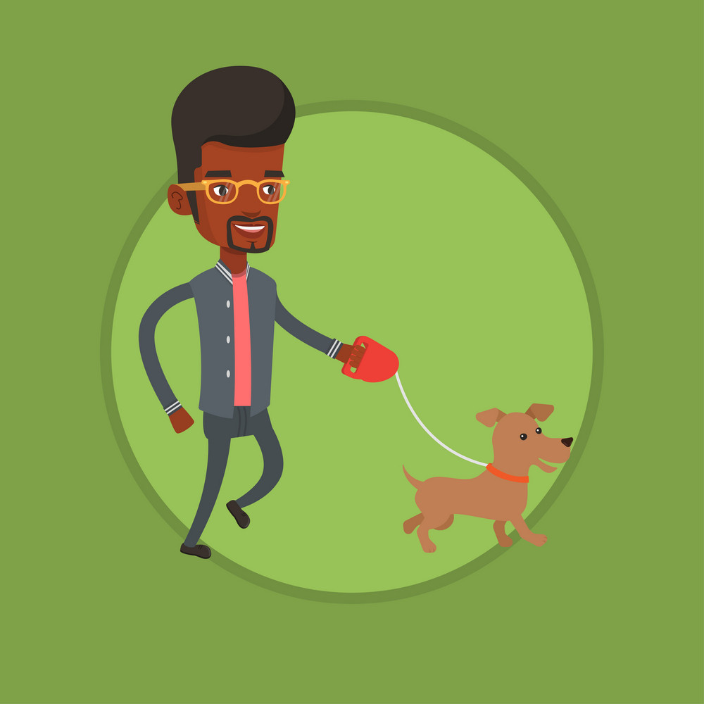 African-american man walking with his small dog. Young man with his dog. Happy man taking dog on walk. Man walking a dog on leash. Vector flat design illustration in the circle isolated on background.
