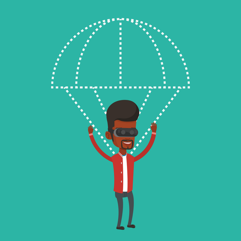 African-american man wearing virtual reality glasses and flying with parachute. Excited man in vr headset having fun while flying in virtual reality. Vector flat design illustration. Square layout.