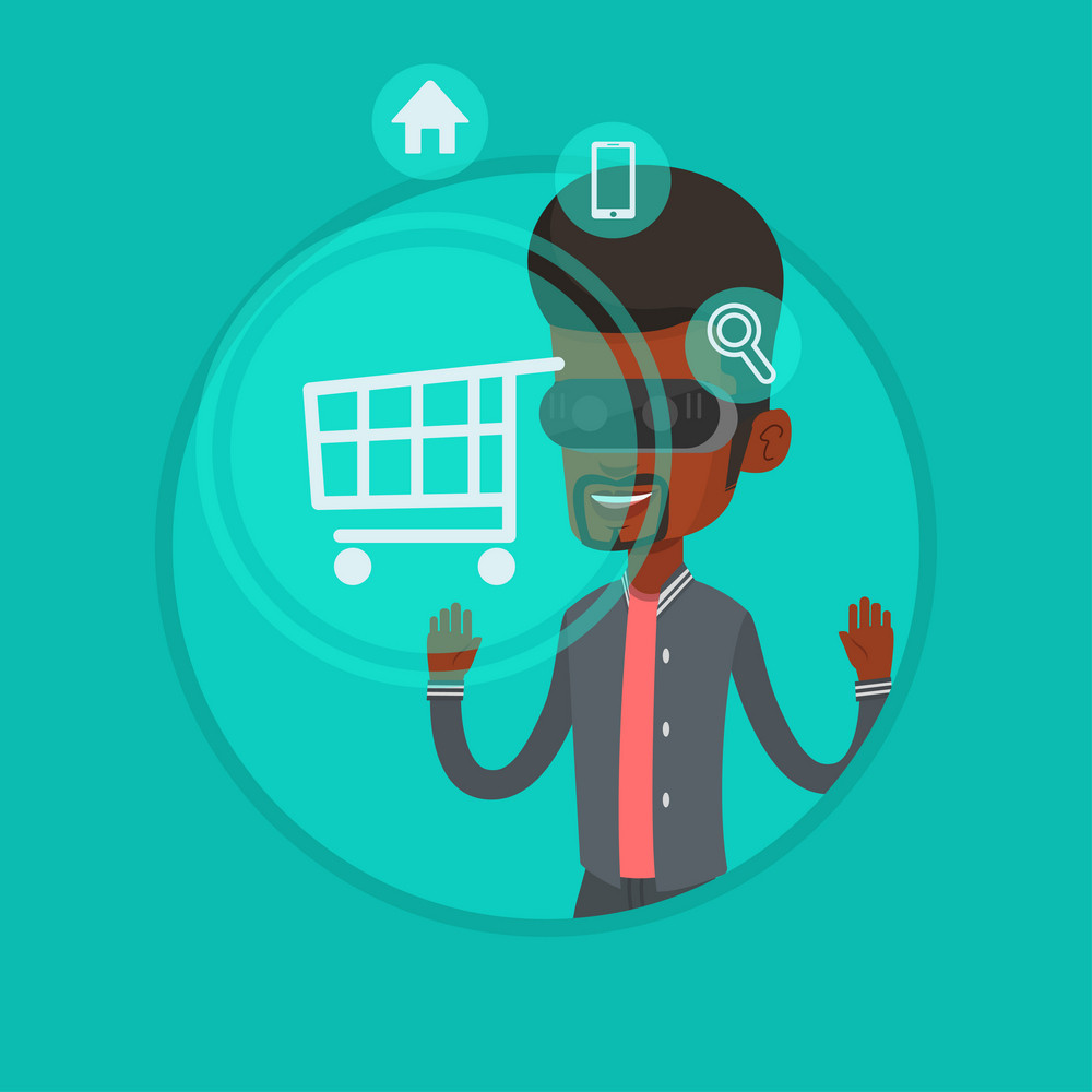 African-american man wearing virtual reality headset and looking at shopping cart. Virtual reality and shopping online concept. Vector flat design illustration in the circle isolated on background.