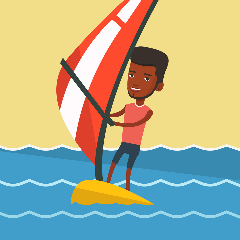 African-american man windsurfing in a summer day. Windsurfer standing on the board with sail and learning to windsurf. Windsurfer training on the water. Vector flat design illustration. Square layout.