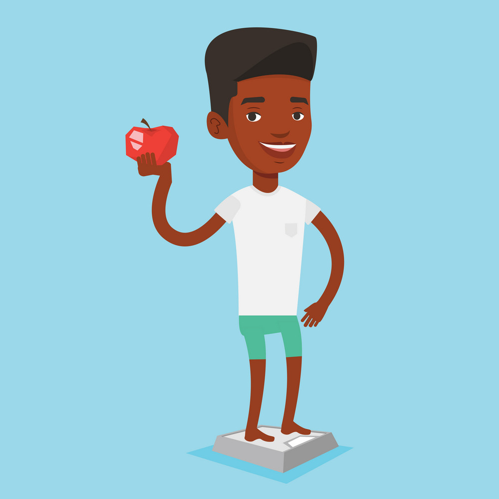 African-american man with apple in hand weighing after diet. Man satisfied with result of his diet. Man on a diet. Dieting and healthy lifestyle concept. Vector flat design illustration. Square layout
