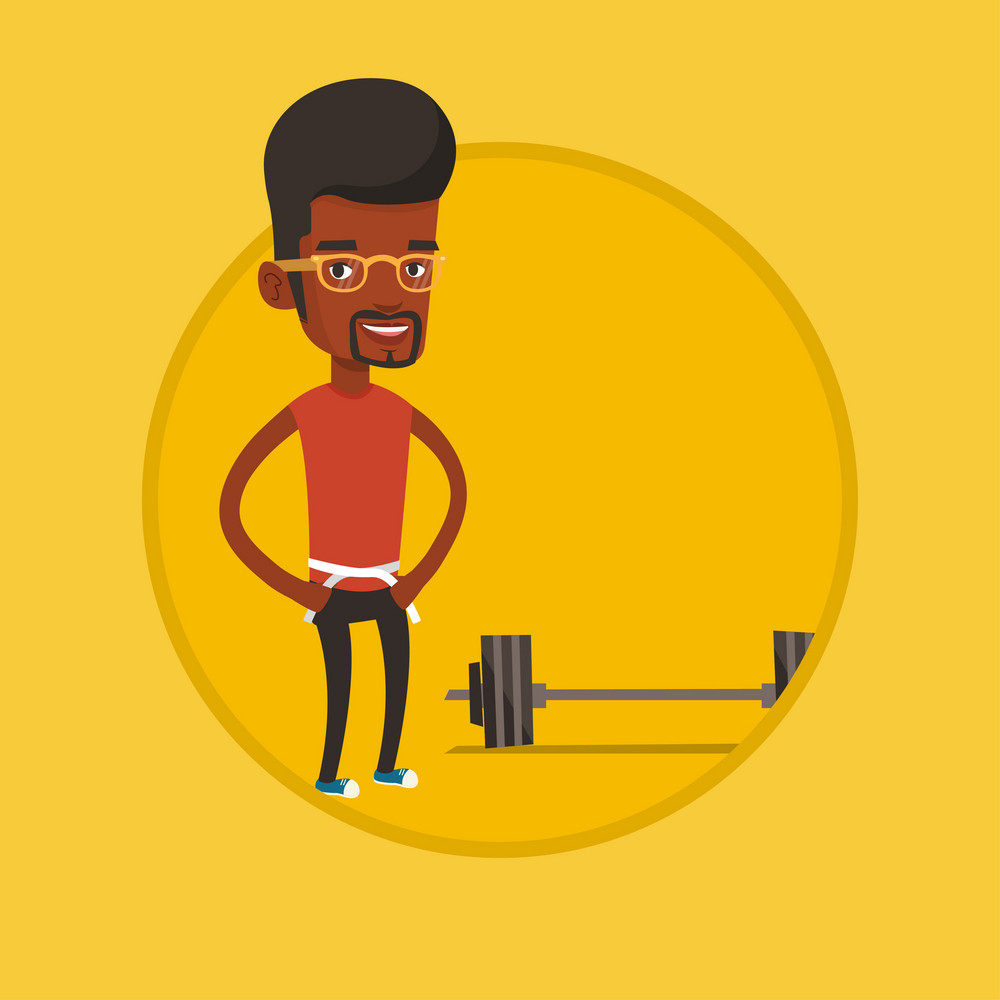 African-american man with centimeter on a waist. Man measuring his waistline with a tape. Man measuring with tape the abdomen. Vector flat design illustration in the circle isolated on background.