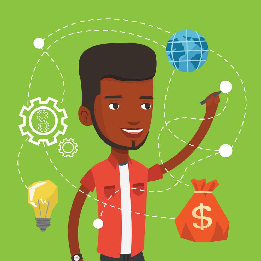 African-american man writing on a virtual screen. Cheerful businessman drawing a cloud computing diagram on a virtual screen. Cloud computing concept. Vector flat design illustration. Square layout.