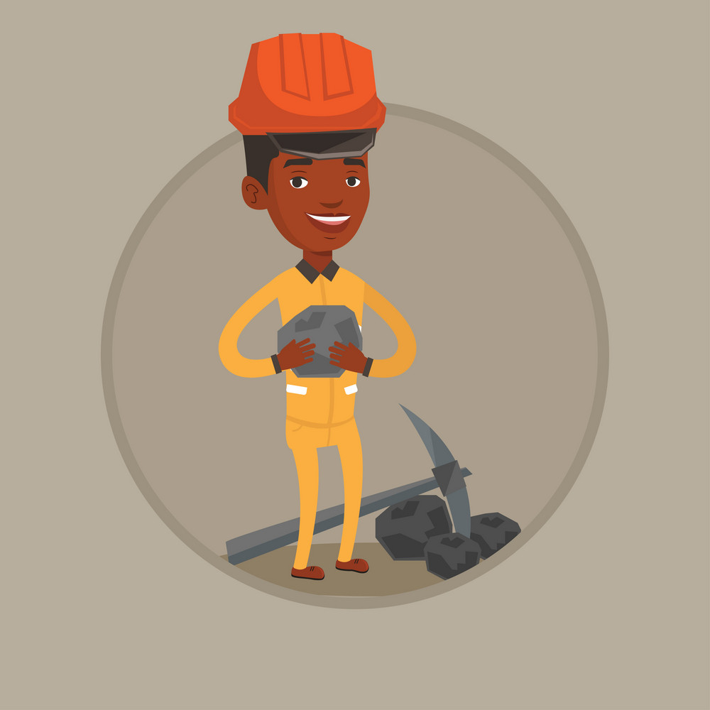 African-american miner in hard hat holding coal in hands. Miner with a pickaxe. Miner working at coal mine. Young miner at work. Vector flat design illustration in the circle isolated on background.