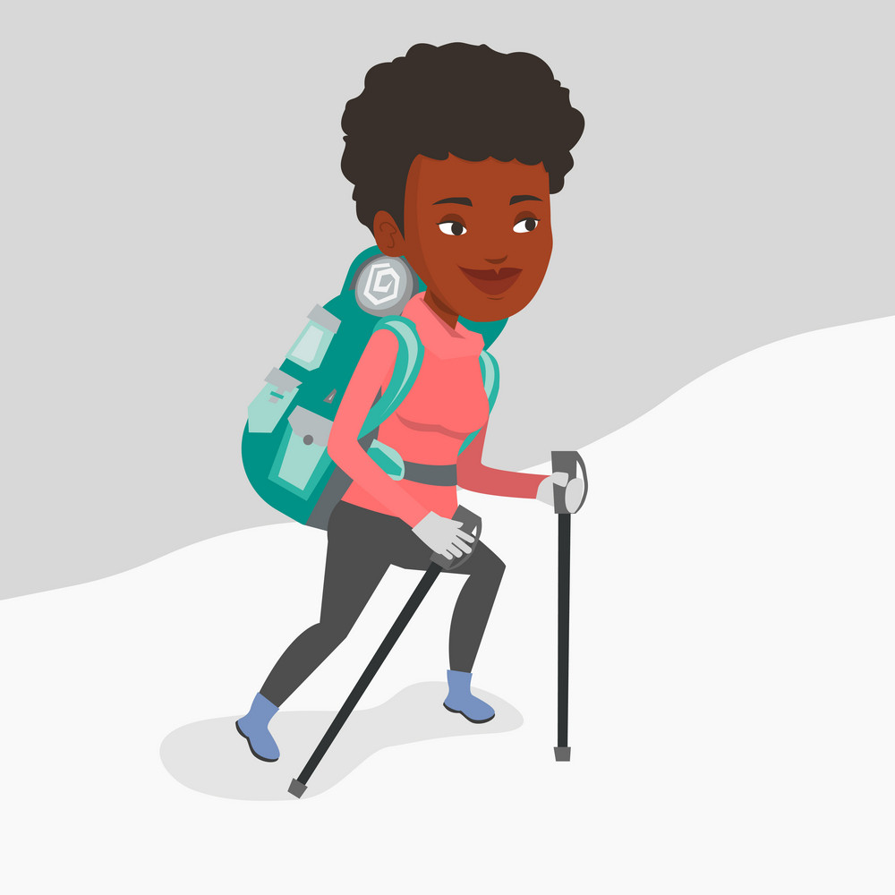 African-american mountaineer climbing a snowy ridge. Young mountaineer climbing a mountain. Mountaineer with backpack walking up along a snowy ridge. Vector flat design illustration. Square layout.