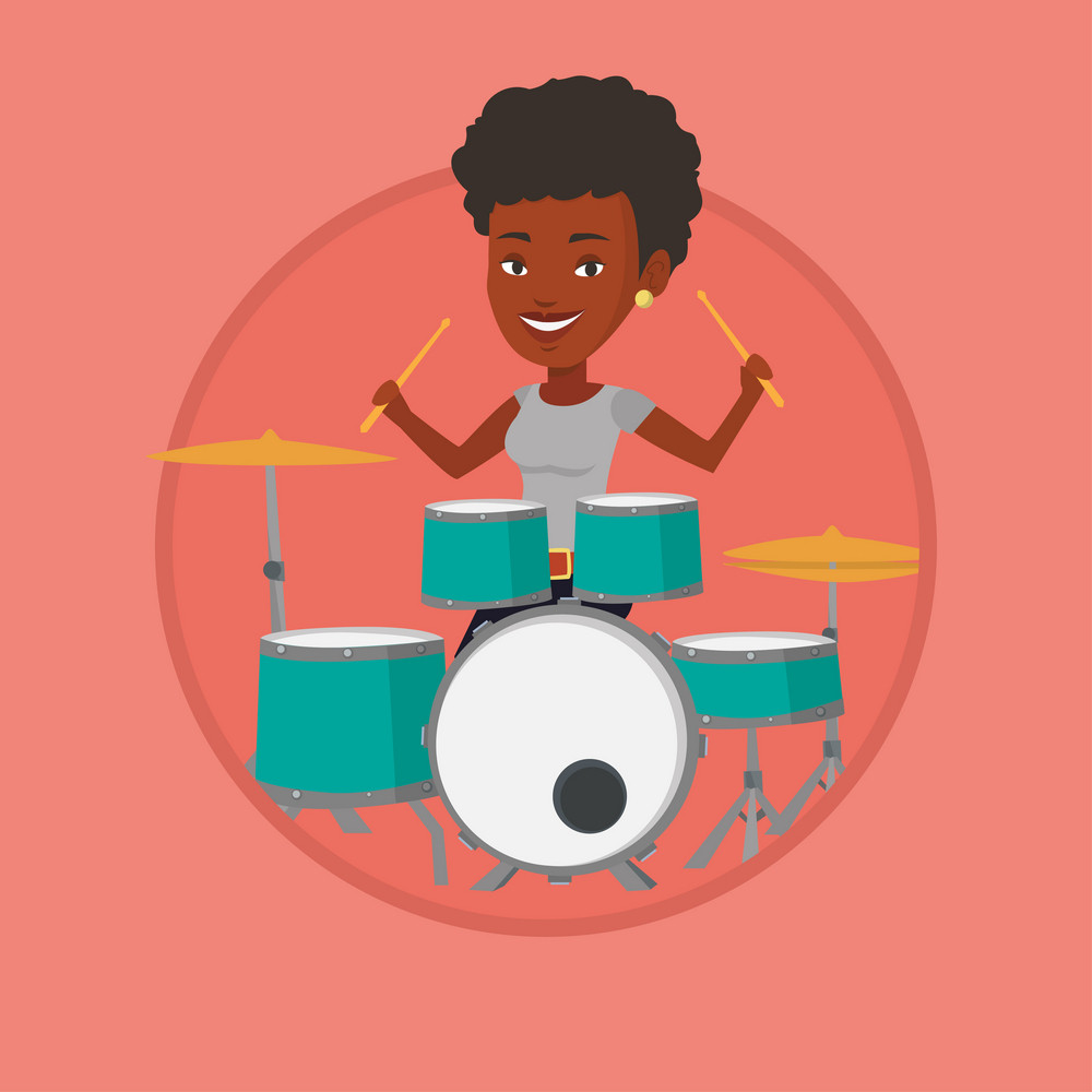 African-american mucisian playing on drums. Woman playing on drums. Woman playing on drum kit. Woman sitting behind the drum kit. Vector flat design illustration in the circle isolated on background.