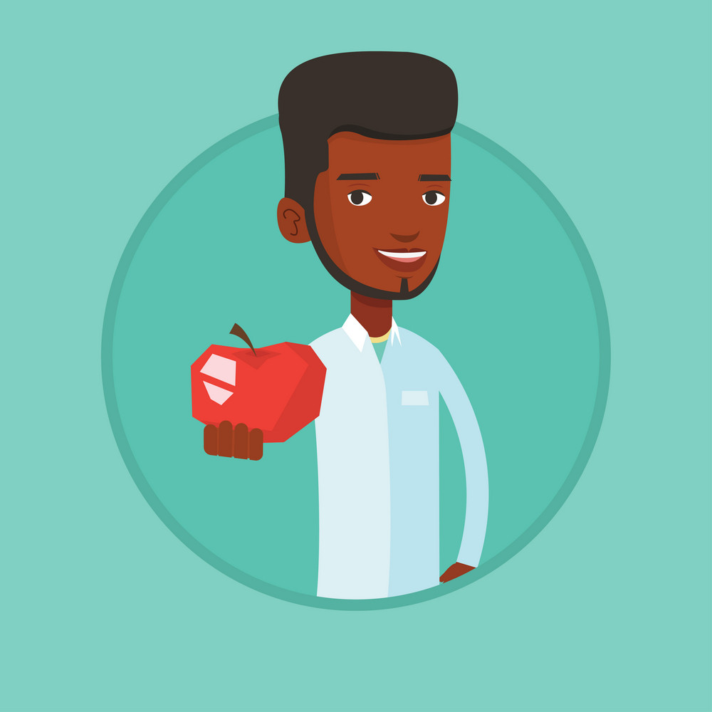 African-american nutritionist prescribing diet and healthy eating. Nutritionist holding an apple. Nutritionist offering an apple. Vector flat design illustration in the circle isolated on background.