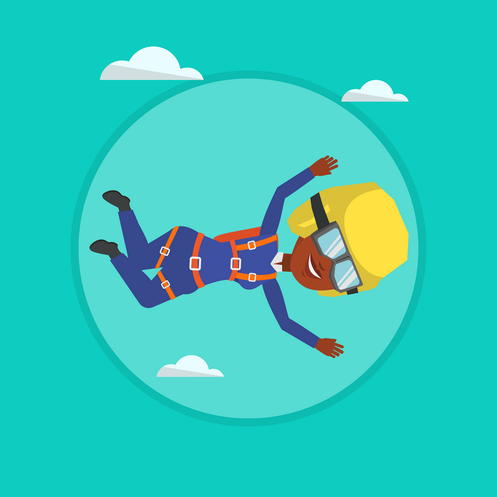 African-american parachutist jumping with parachute. Parachutist falling through the air. Woman flying with parachute in clouds. Vector flat design illustration in the circle isolated on background.