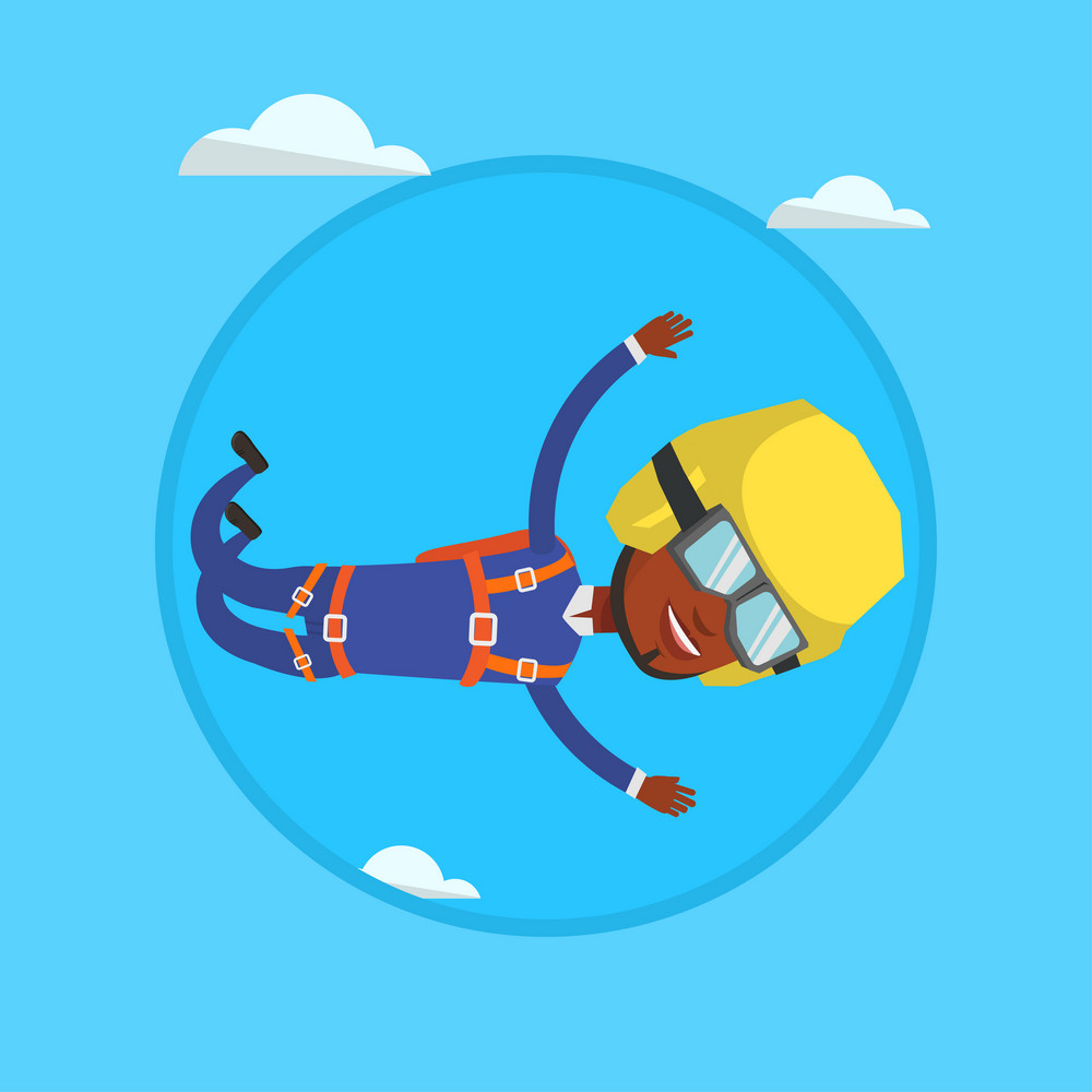 African-american parachutist jumping with parachute. Professional parachutist falling through the air. Man flying with parachute. Vector flat design illustration in the circle isolated on background.