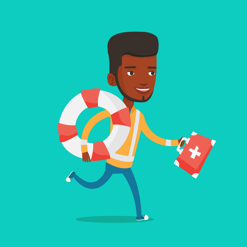 African-american paramedic running with first aid box. Young paramedic running to patients. Emergency doctor running with first aid box and lifebuoy. Vector flat design illustration. Square layout.