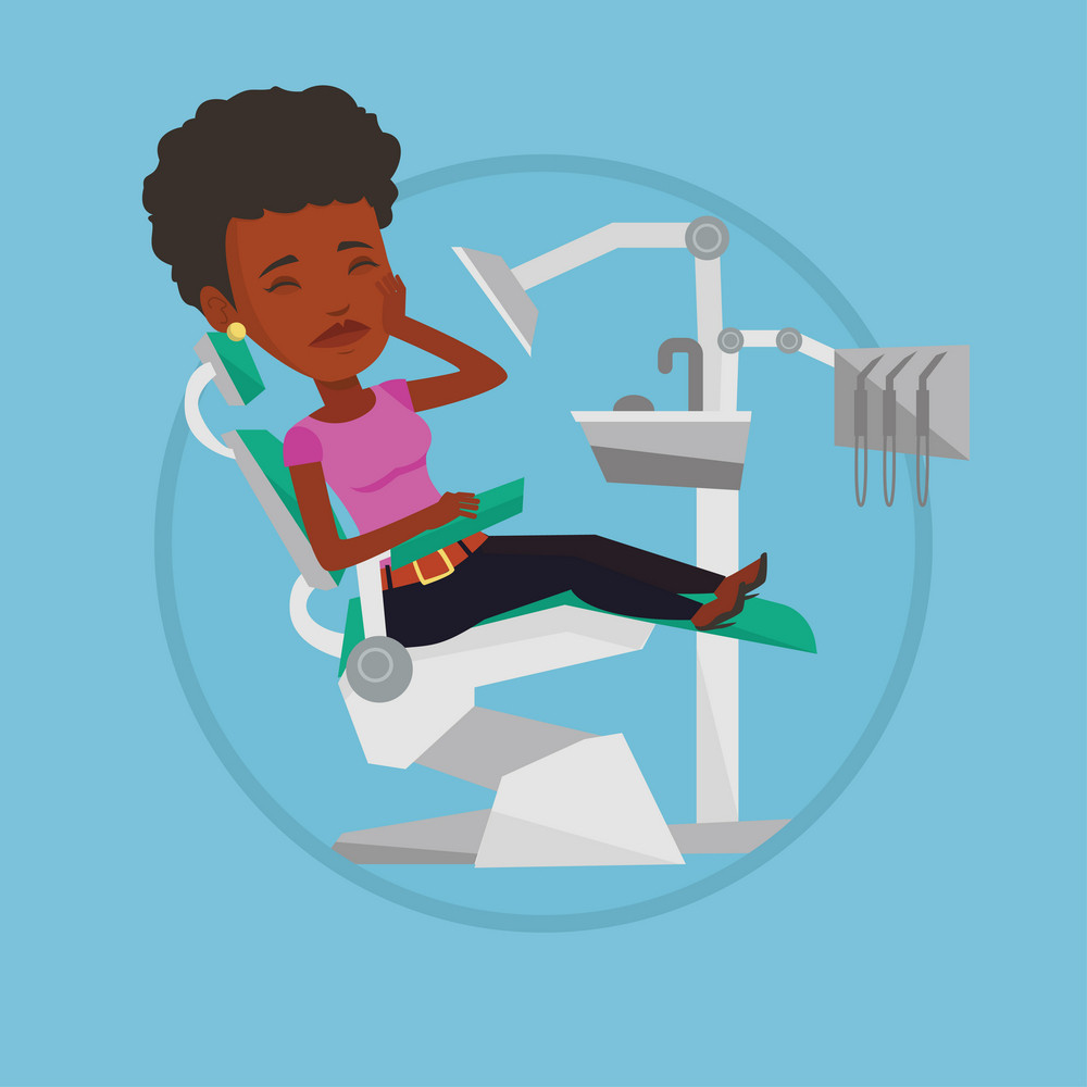 African-american patient visiting dentist because of toothache. Patient suffering from toothache. Woman having a strong toothache. Vector flat design illustration in the circle isolated on background.