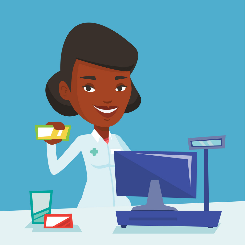 African-american pharmacist in medical gown standing at the counter in the pharmacy. Pharmacist showing some medicine. Pharmacist holding a box of pills. Vector flat design illustration. Square layout