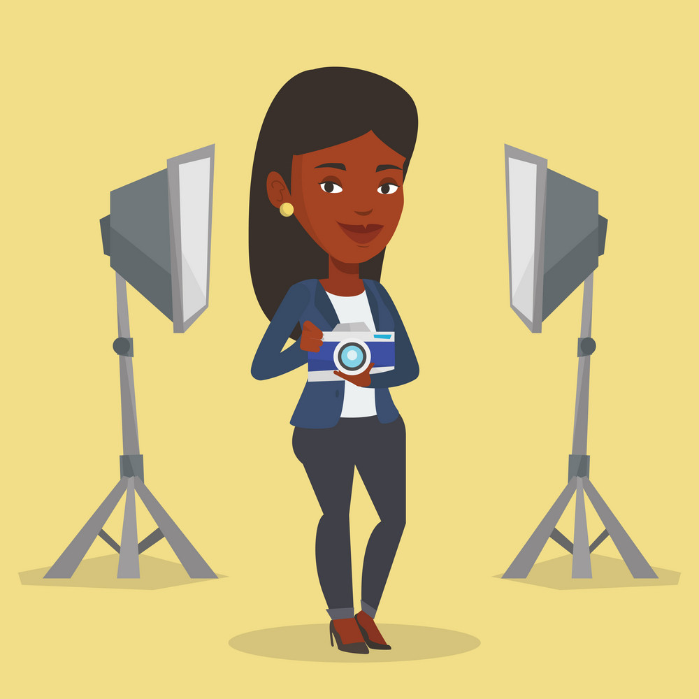 African-american photographer holding a camera in photo studio. Photographer using professional camera in the studio. Young photographer taking a photo. Vector flat design illustration. Square layout.