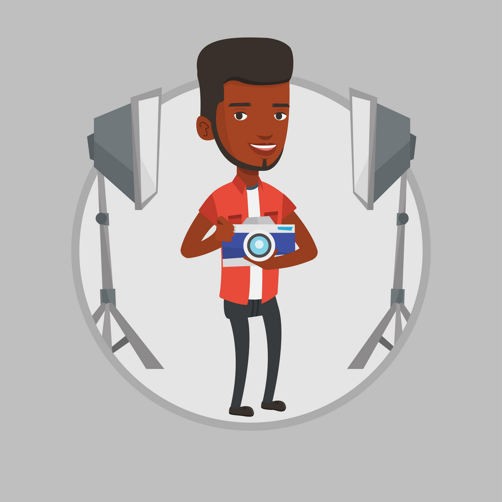African-american photographer using professional camera in the studio. Young photographer holding a camera in photo studio. Vector flat design illustration in the circle isolated on background.