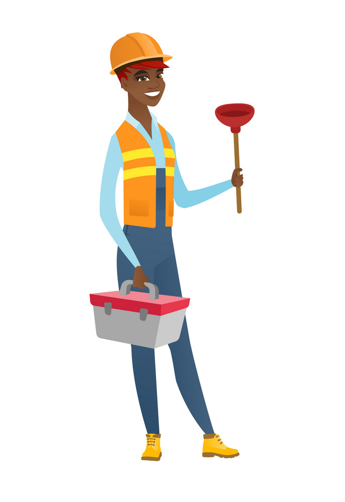 African-american plumber with toilet plunger and tool box. Full length of young smiling plumber in hard hat holding plunger and tool box. Vector flat design illustration isolated on white background.