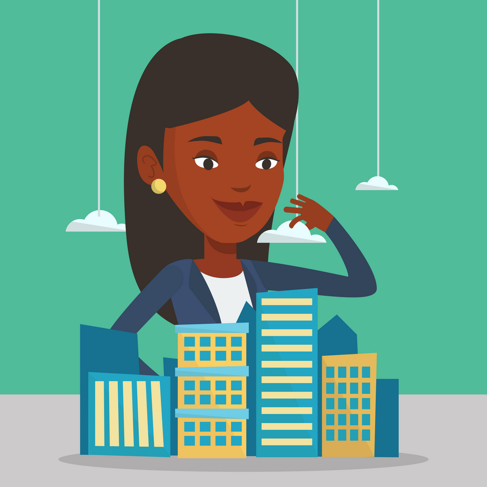 African-american real estate agent presenting a model of new city district. Sales manager working with a project of a new modern district of the city. Vector flat design illustration. Square layout.