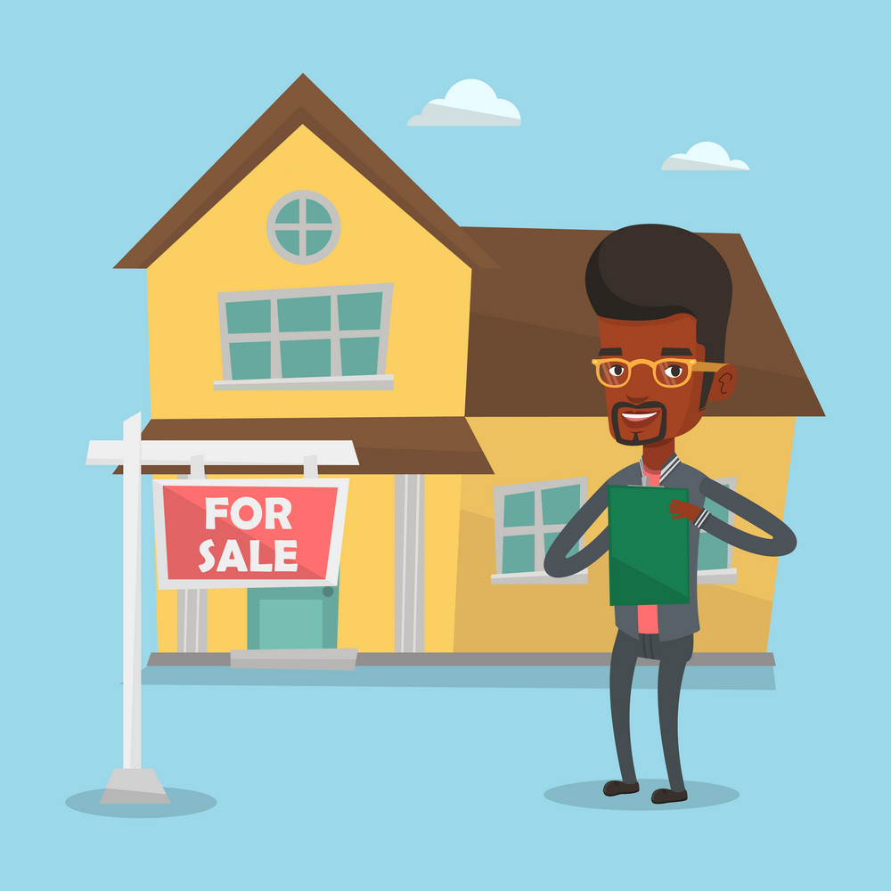 African-american realtor signing home purchase contract. Realtor standing in front of the house with placard for sale. Realtor selling a house. Vector flat design illustration. Square layout.